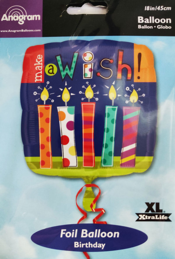 Make a WISH 18inch Foil Balloon Multi Coloured with Candles 19909