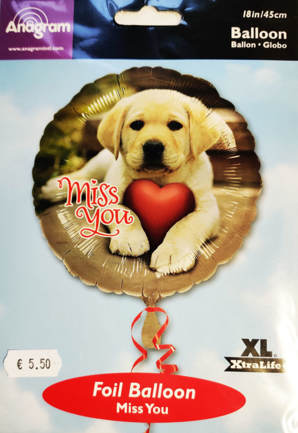 Miss You 18inch Foil Balloon Puppy with a Red Heart 07071