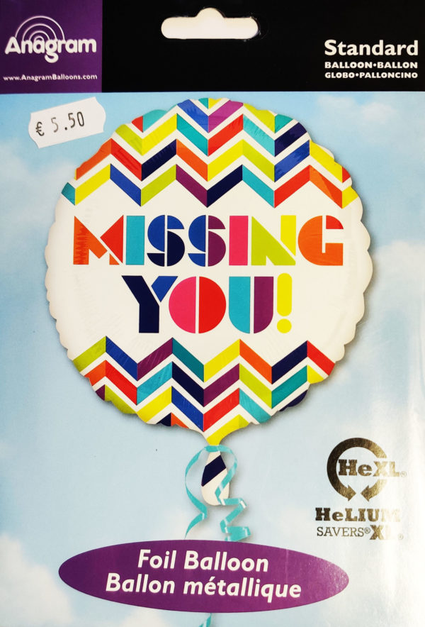 Missing You 17inch Foil Balloon Multi Coloured 28725