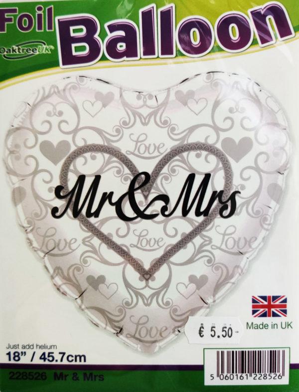 Mr & Mrs 18inch Foil Balloon Heart Shaped Silver 228526