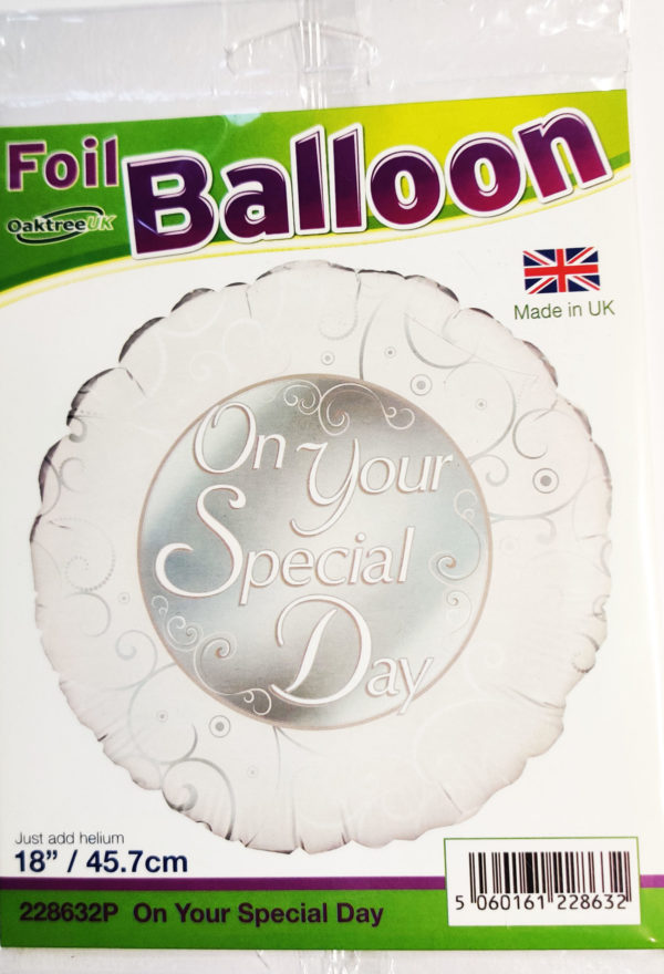 On Your Special Day 18inch Foil Balloon Silver 228632P