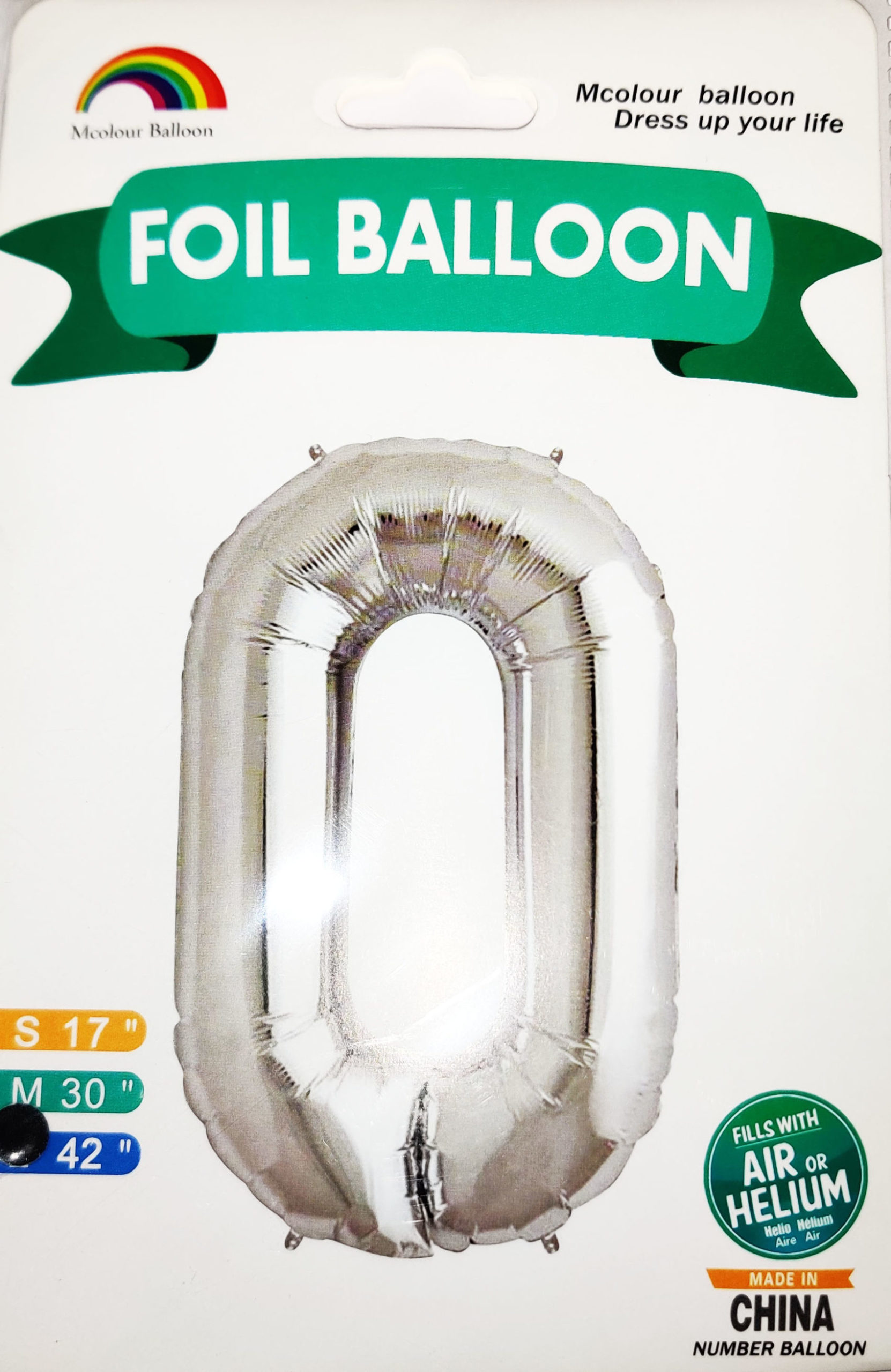 Silver Giant Number 0 Foil Balloon 17 x 28 x 42inches