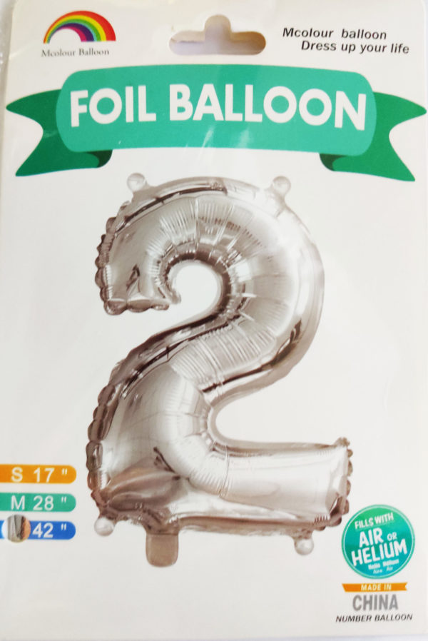 Silver Giant Number 2 Foil Balloon 17 x 28 x 42inches