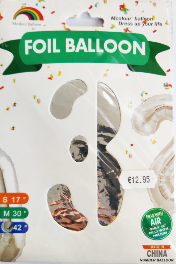 Silver Giant Number 3 Foil Balloon 17 x 28 x 42inches