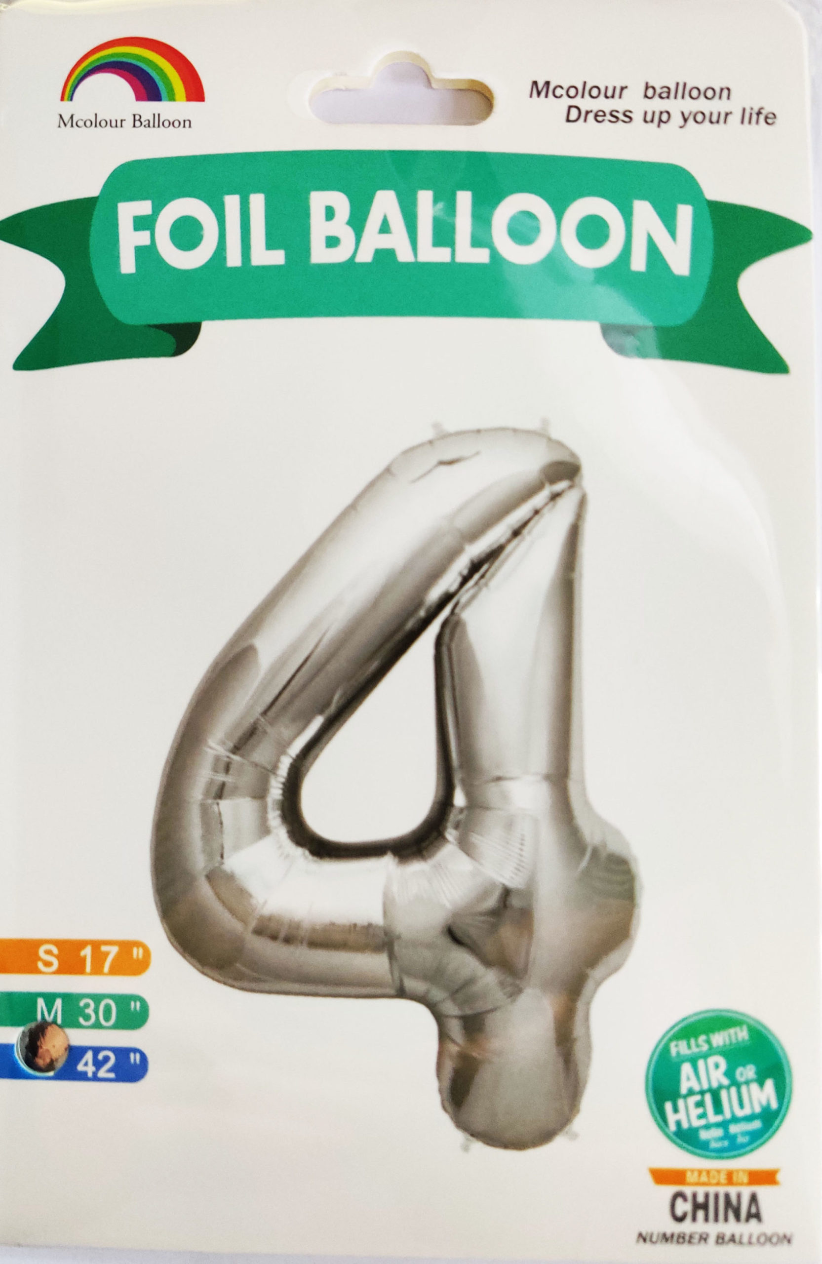 Silver Giant Number 4 Foil Balloon 17 x 28 x 42inches