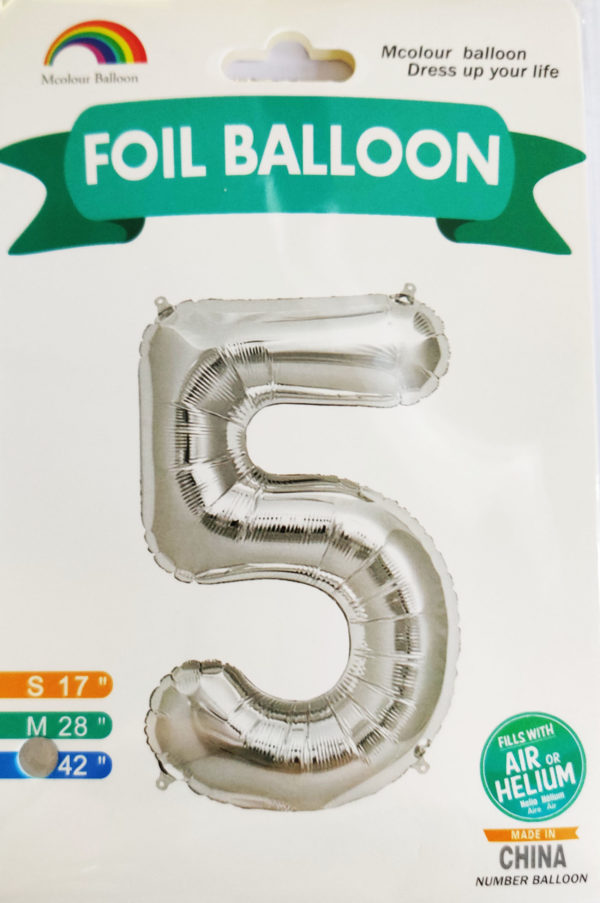 Silver Giant Number 5 Foil Balloon 17 x 28 x 42inches