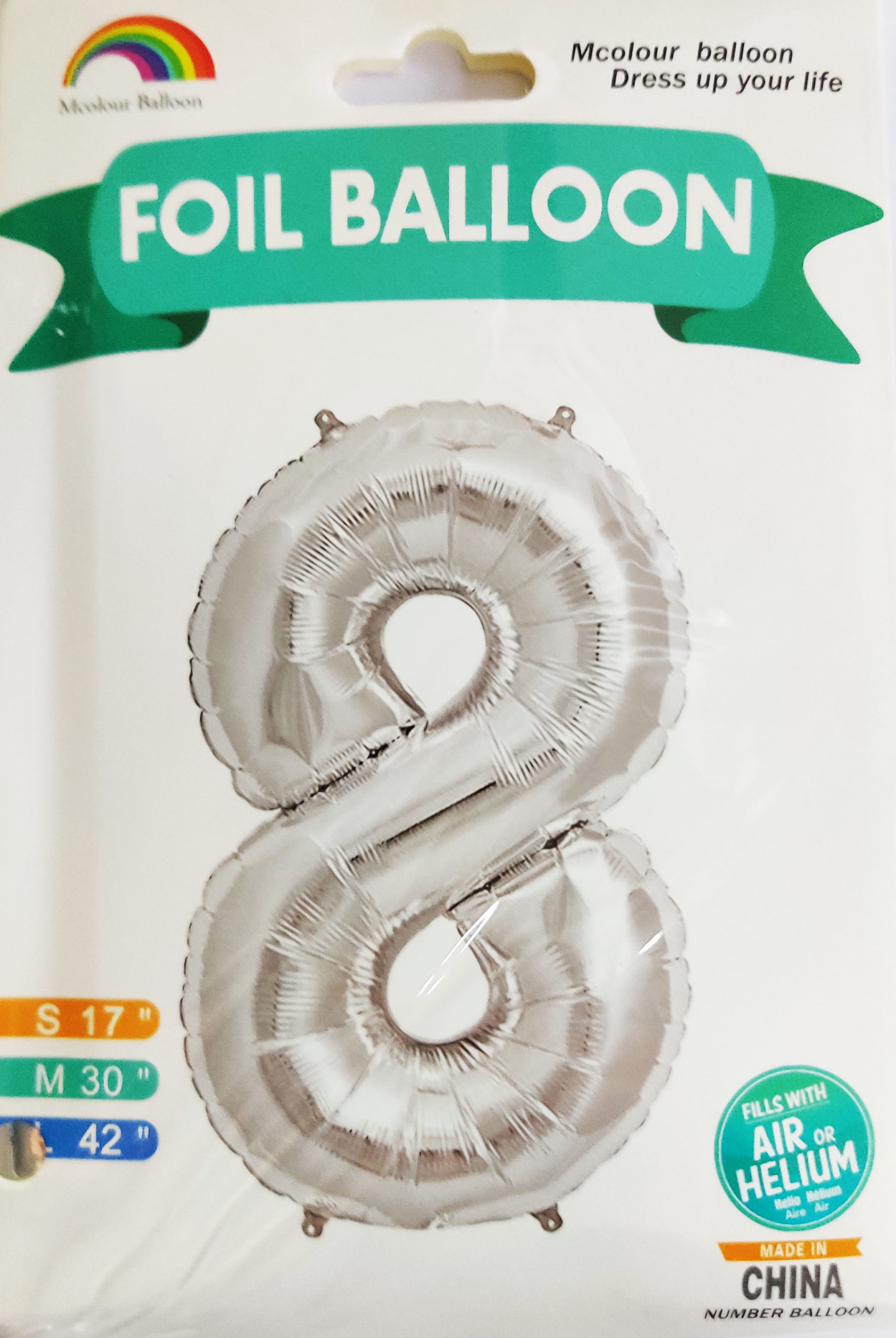 Silver Giant Number 8 Foil Balloon 17 x 28 x 42inches