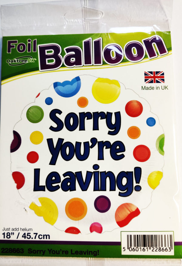 Sorry You're Leaving 18inch Foil Balloon 228663P