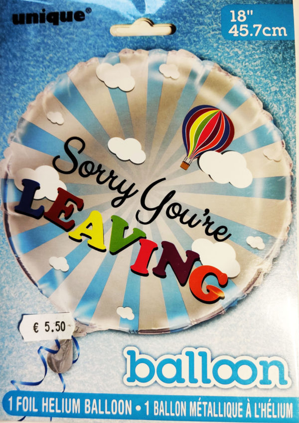 Sorry You're Leaving 18inch Foil Balloon Hot Air Balloon Image 56661