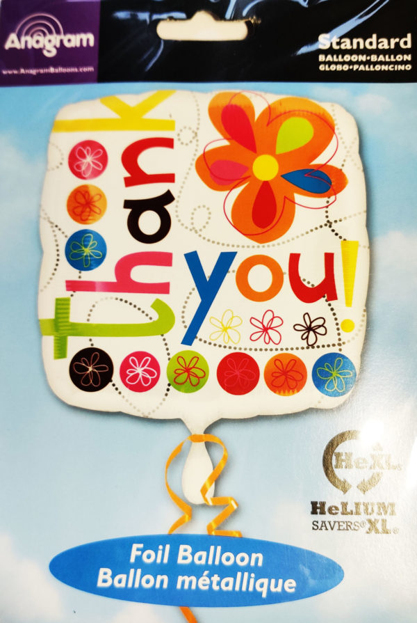 Thank You 17inch Foil Balloon Multi Coloured Square 19954
