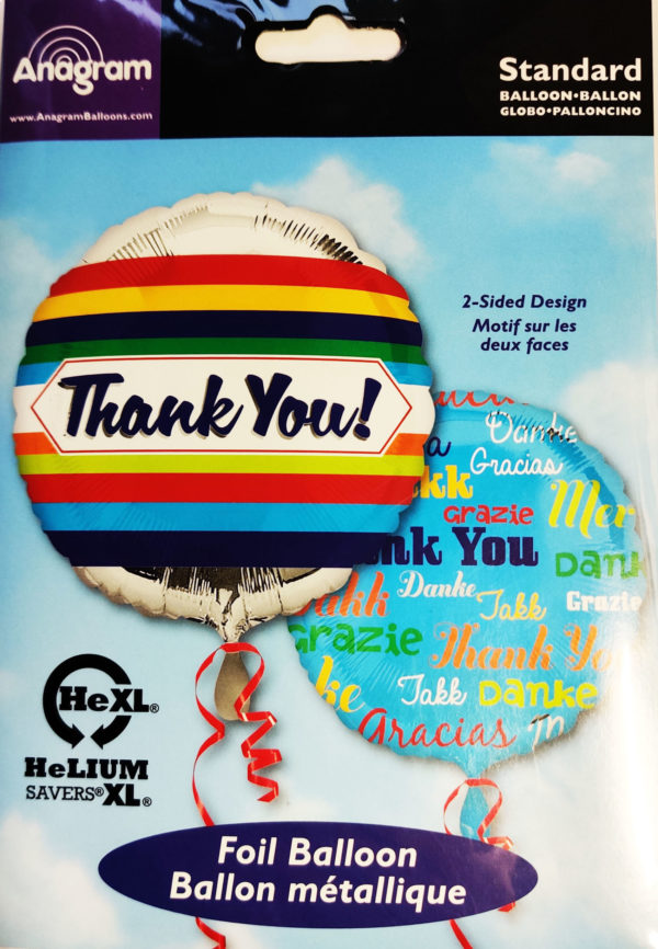 Thank You 17inch Foil Balloon Multi Coloured Two Sided Design 33567