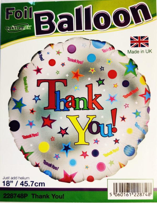Thank You 18inch Foil Balloon Multi Coloured 228748P