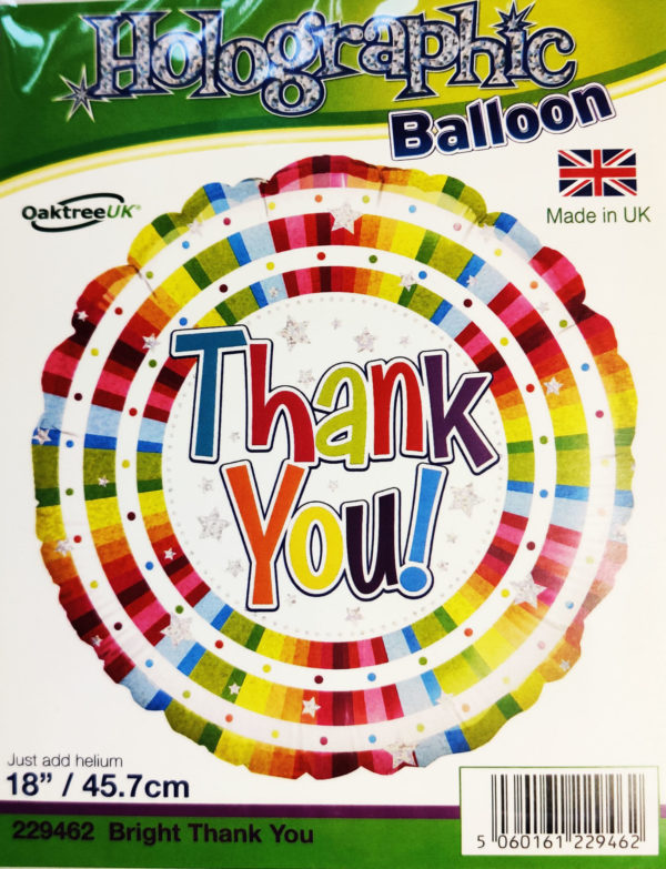 Thank You 18inch Foil Balloon Multi Coloured 229462