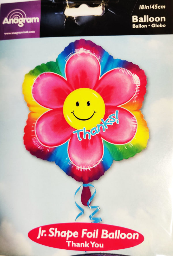 Thanks 18inch Foil Balloon Multi Coloured Flower Shaped with centre Smiley Face Emoji 33567