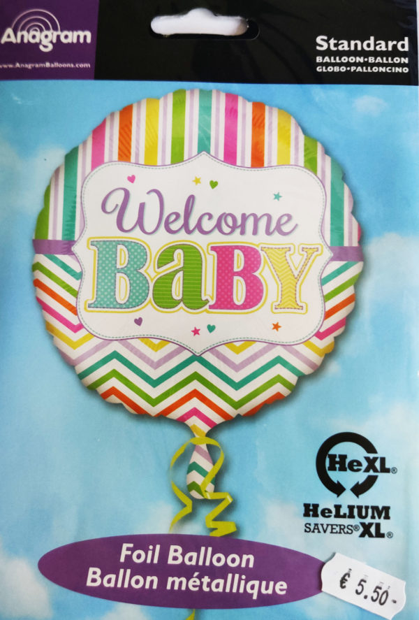 Welcome BABY 17inch Foil Balloon Pastel Coloured 30915