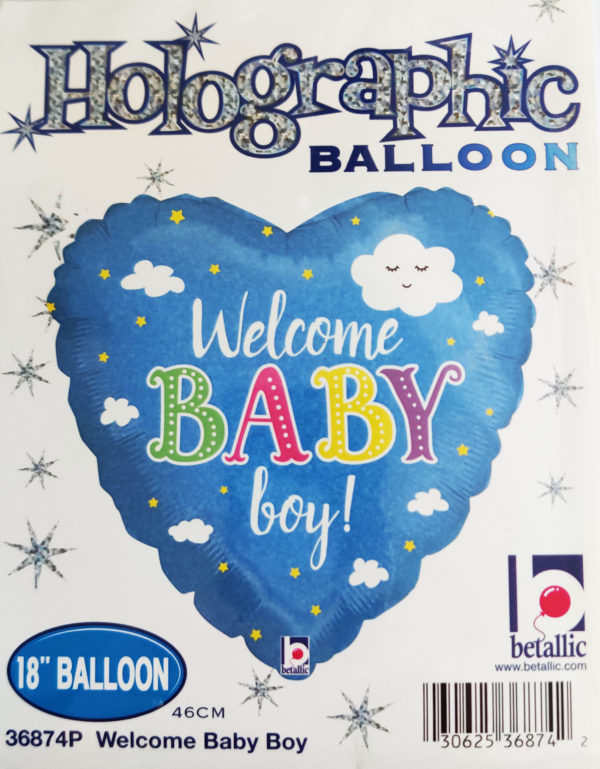 Welcome BABY Boy 18inch Foil Balloon Patchwork 36874P