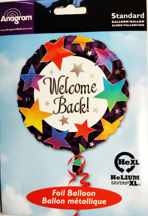 Welcome Back 17inch Foil Balloon Multi Coloured with Stars 09898