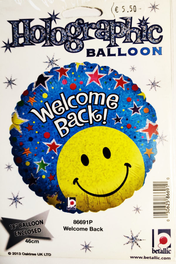 Welcome Back 18inch Foil Balloon Multi Coloured with Smiley Face Emoji 86691P