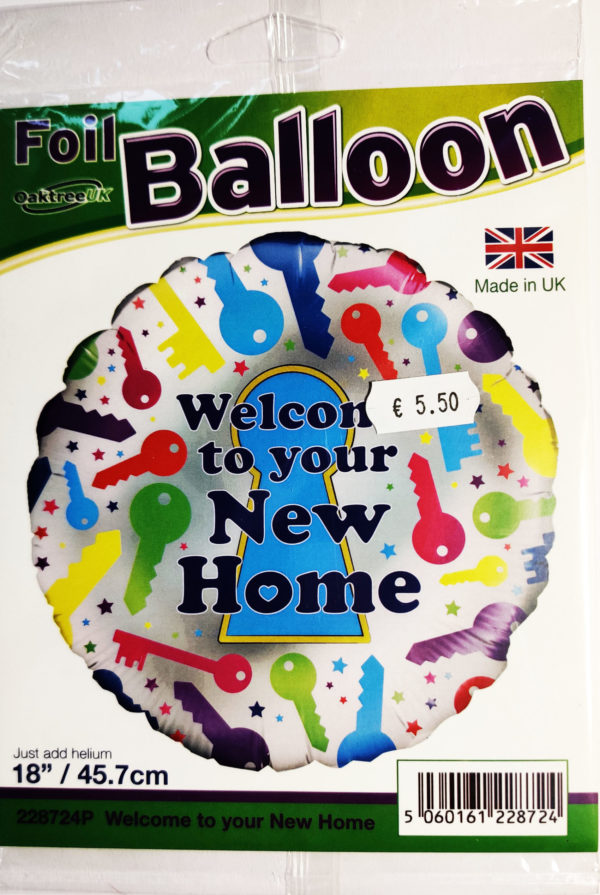 Welcome to your New Home 18inch Foil Balloon Multi Coloured 228724P