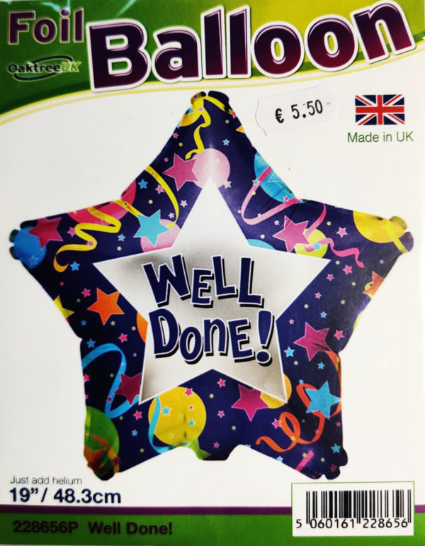 Well Done! 19inch Foil Balloon Multi Coloured Star Shaped 228656P