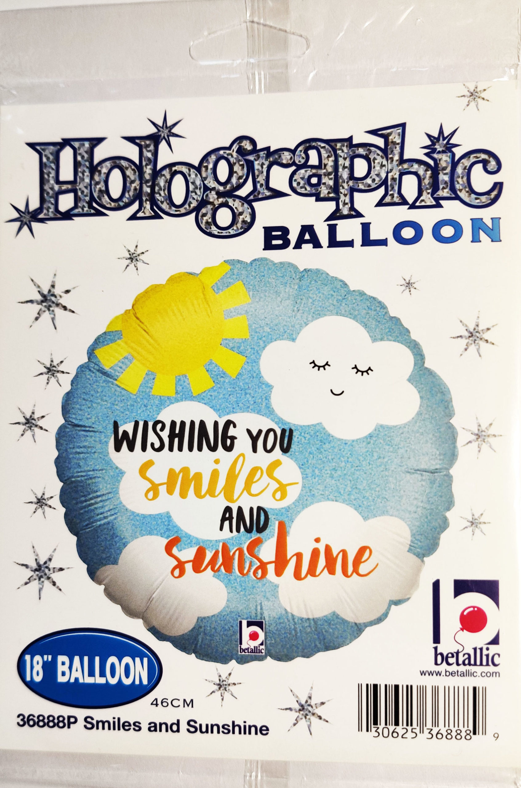 Wishing you smiles and sunshine 18inch Foil Balloon Multi Coloured 36888P