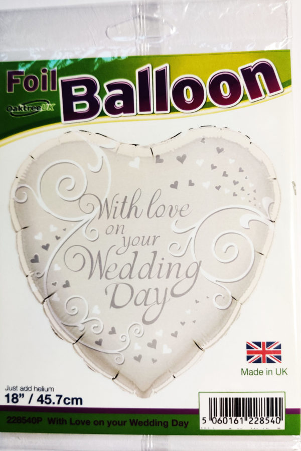 With love on your Wedding Day 18inch Foil Balloon Silver Heart Shaped 228540P