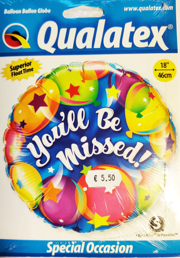 You'll Be Missed 18inch Foil Balloon Multi Coloured 18419
